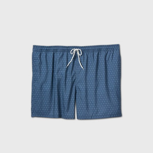 "Men's Big & Tall 7"" Geometric Elastic Waist Swim Trunks - Goodfellow & Co™ Blue Haze - image 1 of 2"
