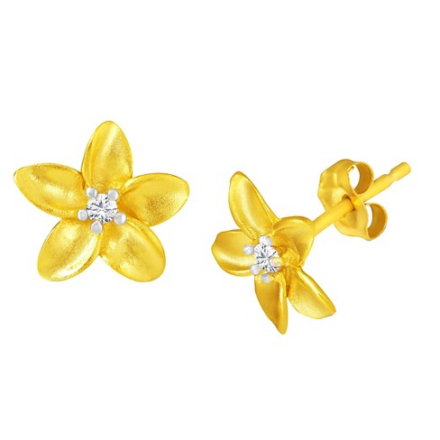 .05 CT. T.W. Diamond Flower Earrings in 14K Yellow Gold Over Sterling Silver - image 1 of 2