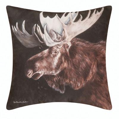 "C&F Home 18"" x 18"" Moose Rustic Lodge Indoor/Outdoor Decorative Throw Pillow"