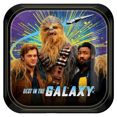 "Amscan Star Wars Han Solo 7"" Square Paper Party Plates, 8-Pack"
