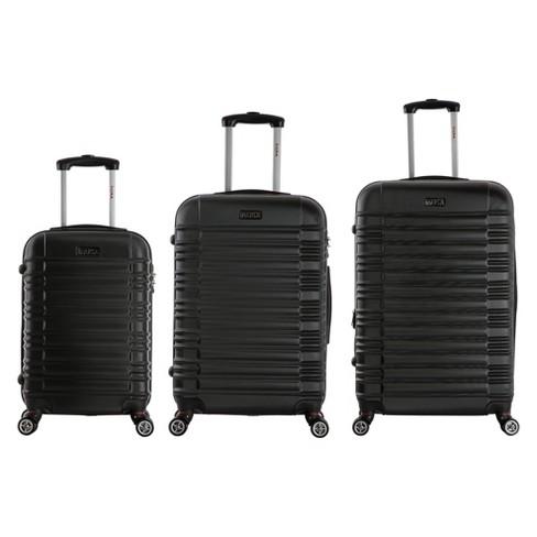 "InUSA New York 3pc Hardside Spinner Luggage Set 20""& 24""& 28"" - Black - image 1 of 4"