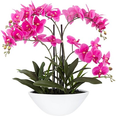 """Dahlia Studios Real Touch Pink Orchid 28"""" High Faux Flowers in White Pot"""