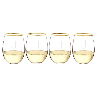 Cathy's Concepts 19.25oz Monogram Gold Rim Stemless Wine Glasses J - Set of 4