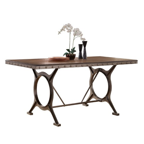 Paddock Wood and Metal Counter Height Dining Table - Brushed Steel/Distressed Brown - Hillsdale Furniture - image 1 of 2