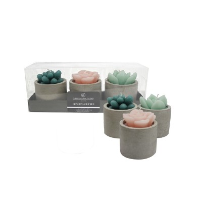 Fragrance Free Candle Set of 3 Teal/Pink/Green 2.29oz - Chesapeake Bay Candle