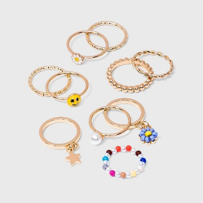 Star and Flower Charm Ring Set 10pc - Wild Fable™ Gold