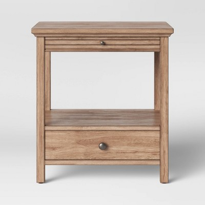 Shelburne Wood Nightstand with Drawer/Slide Out Shelf Brown - Threshold™