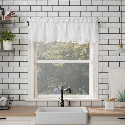 "14""x58"" Mariela Floral Trim Semi-Sheer Rod Pocket Kitchen Window Valance White - No. 918"