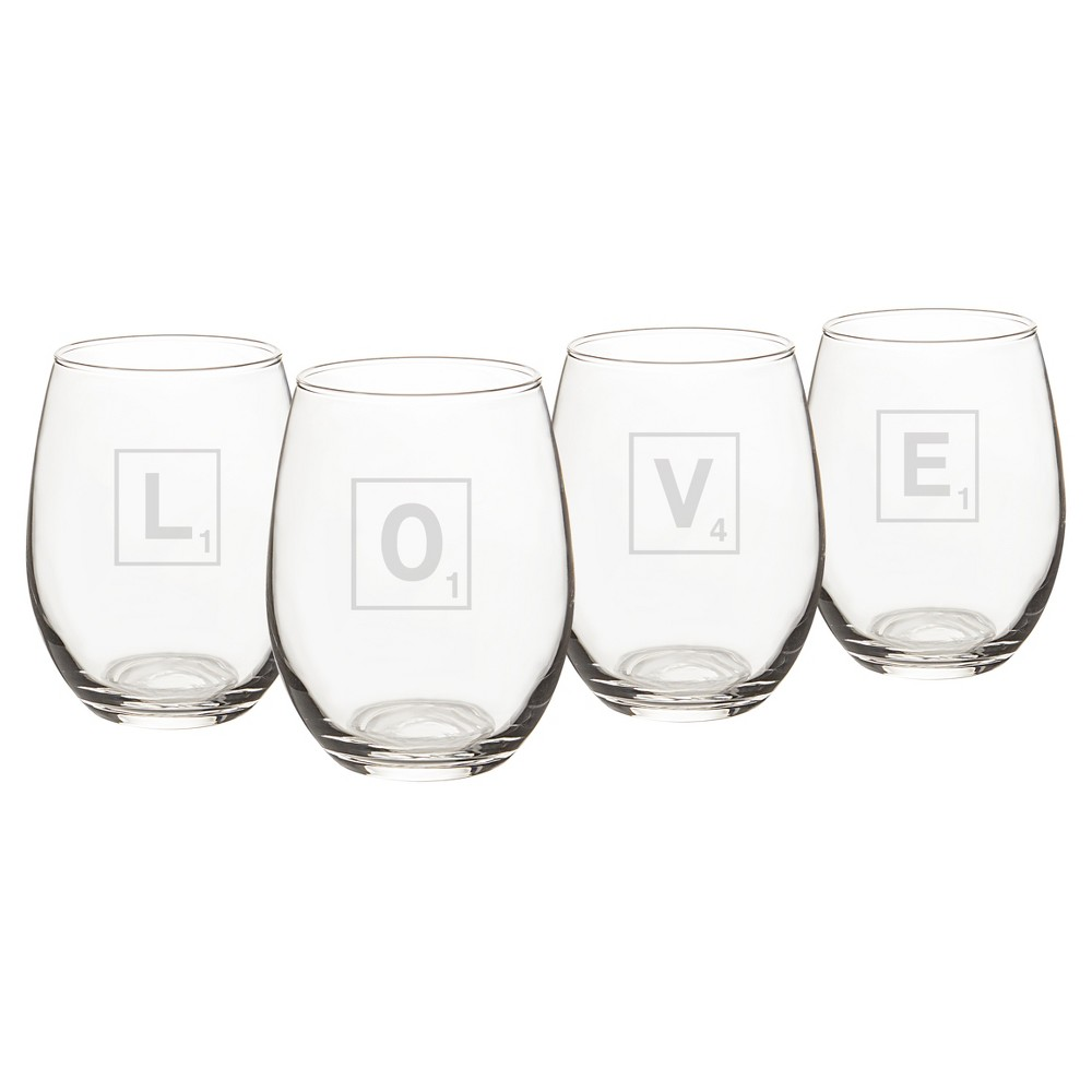 4ct Love Letter Stemless Wine Glass, Clear