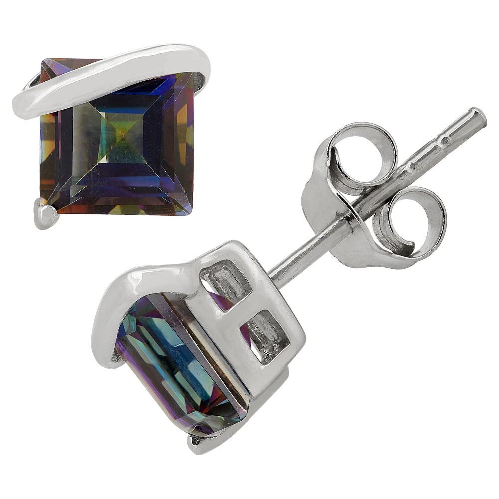 Princess-Cut Rainbow Blue Topaz Stud Earrings in Sterling Silver, Girl's, Mystic Blue Topaz