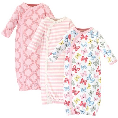 Touched by Nature Baby Girl Organic Cotton Kimono Long-Sleeve Gowns 3pk, Butterflies