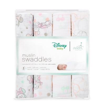 aden by aden + anais Muslin Swaddles 4pk - Disney - Minnie
