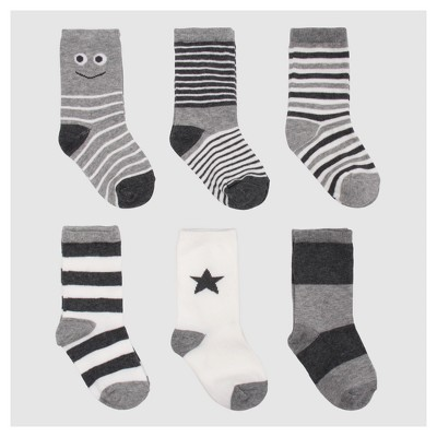 Baby Boys' 6pc Stripe Dress Sock Set - Cat & Jack™ Gray 6-12M