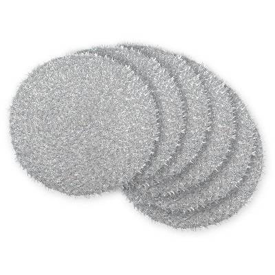 Set of 6 Silver Tinsel Woven Round Placemat - Design Imports