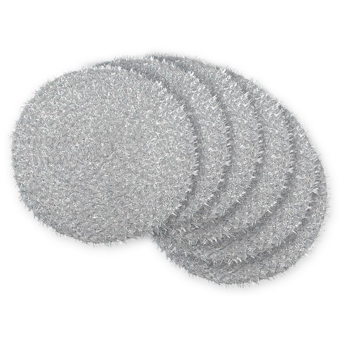 Set of 6 Silver Tinsel Woven Round Placemat - Design Imports - image 1 of 3