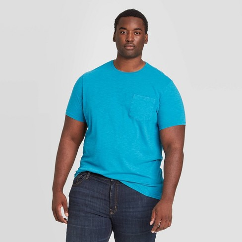 Men's Big & Tall Standard Fit Short Sleeve Slub Pocket Jersey T-Shirt - Goodfellow & Co™ Blue - image 1 of 3