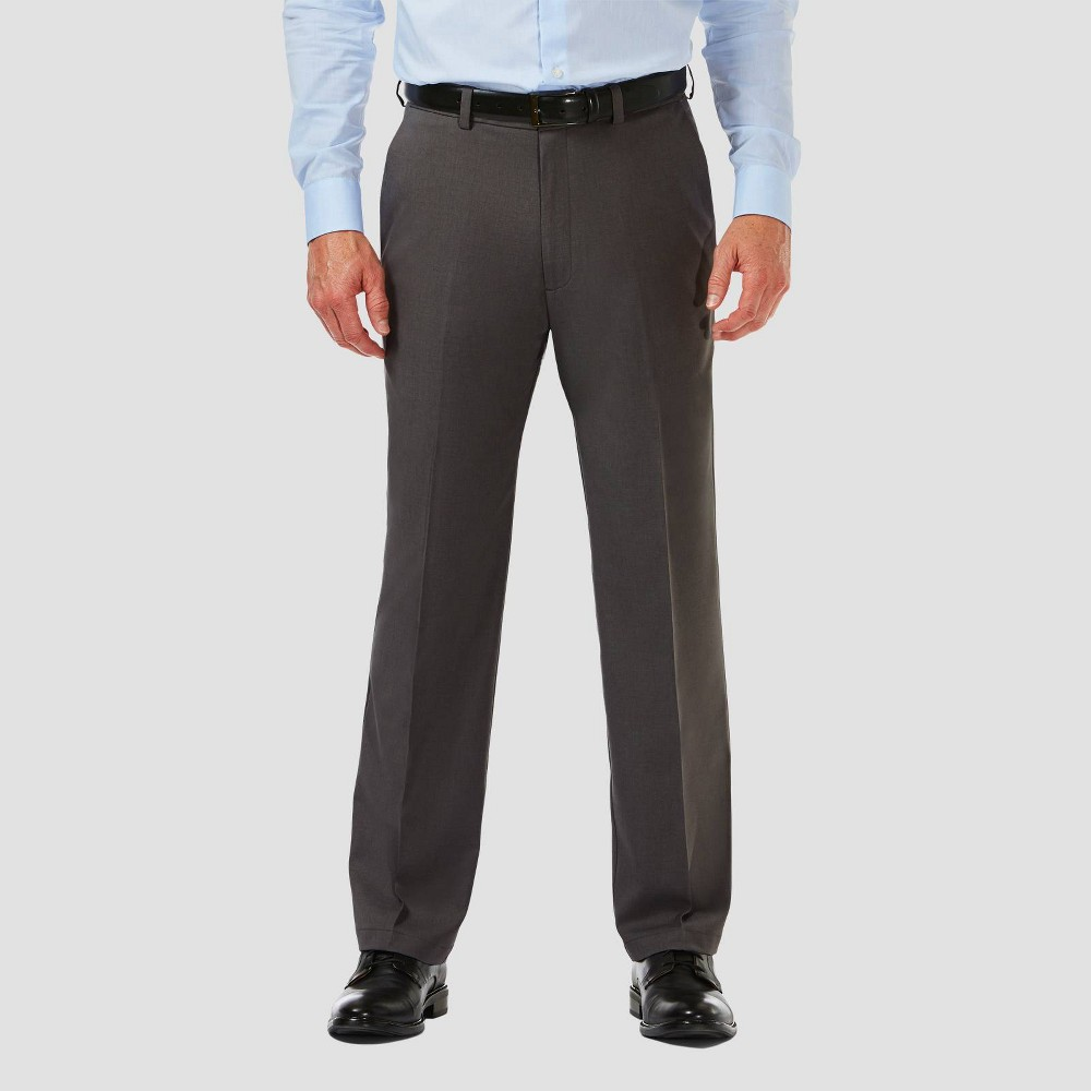 Haggar Men 39 S Cool 18 Pro Classic Fit Flat Front Casual Pants Charcoal Heather 34x29