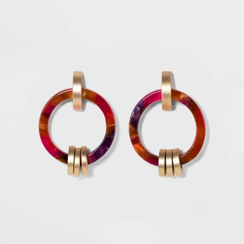 Acetate Ring with Links Earrings - A New Day™ Gold - image 1 of 3