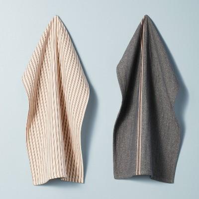 2pk Striped Kitchen Towel Set Railroad Gray/Pumpkin Brown - Hearth & Hand™ with Magnolia