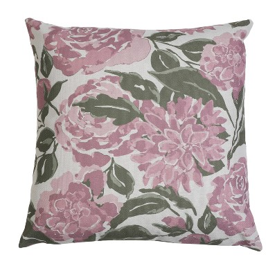 """20""""x20"""" Oversize Faux Linen Illona Floral Fran Square Throw Pillow - Decor Therapy"""