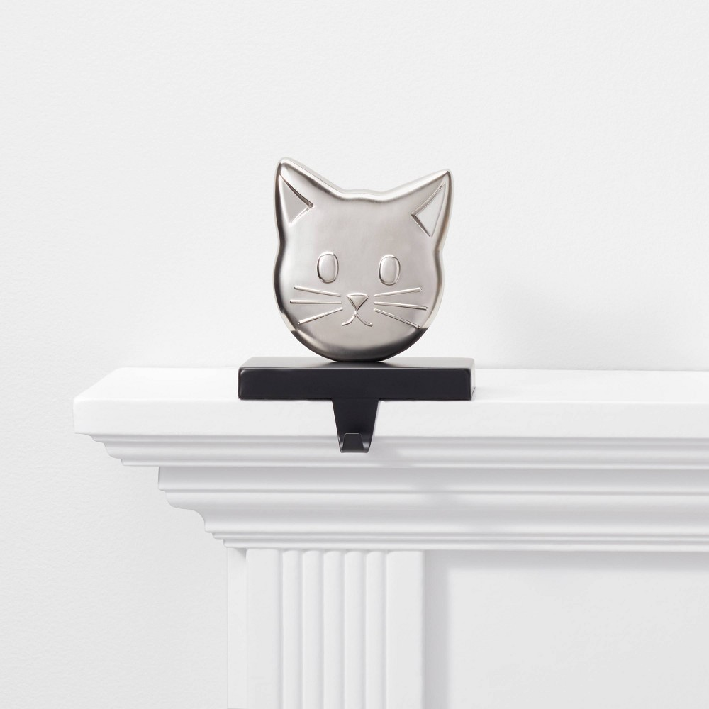 Image of 1ct Cat Christmas Stocking Holder Silver and Black - Wondershop , Silver Black