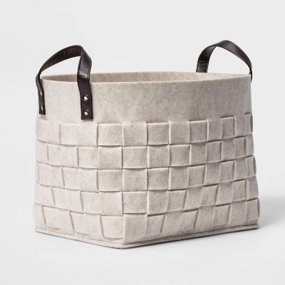 Woven Felt Rectangular Basket with Faux Leather Handles White - Threshold™