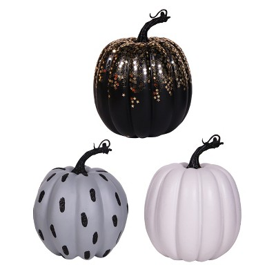 3pk Spooky Décor Pumpkin Glitter Sequin - Bullseye's Playground™