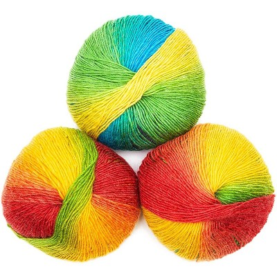 3 Pack 1.8oz Soft Acrylic Rainbow Color Yarn Skeins 196 Yards Craft Yarn for Knitting and Crochet