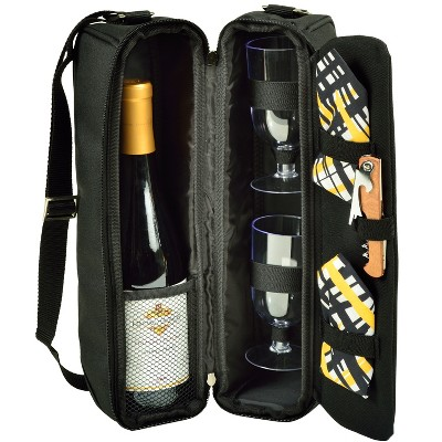 Picnic at Ascot - Deluxe Insulated Wine Tote with 2 Wine Glasses, Napkins and Corkscrew
