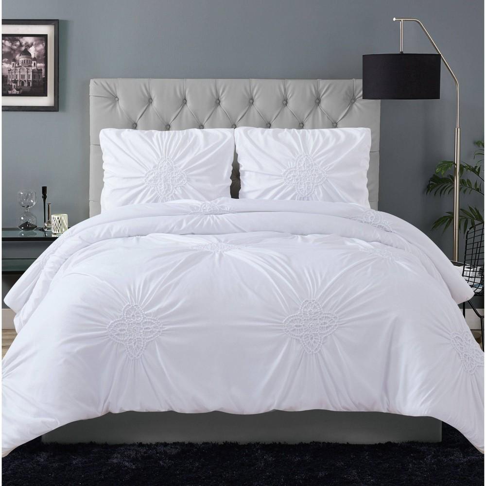 Christian Siriano Georgia Ruched King Comforter Set White