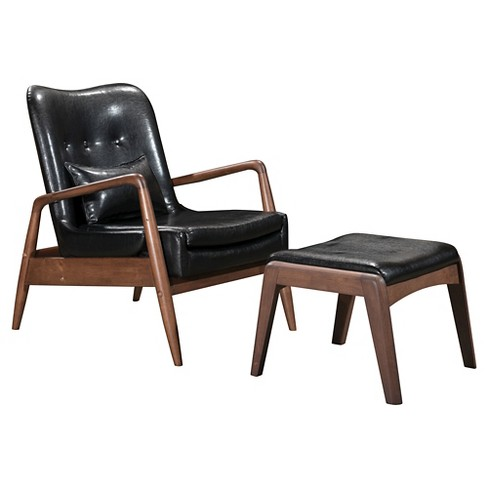 Upholstered Mid Century Modern Sculpted Lounge Chair And Ottoman Zm Home
