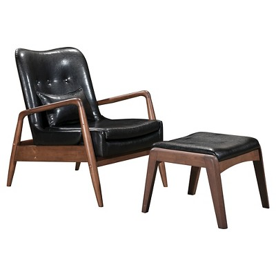 Genial Upholstered Mid Century Modern Sculpted Lounge Chair And Ottoman   ZM Home