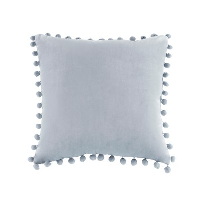 Light Gray Velvet Pom Square Pillow (20 x20 )