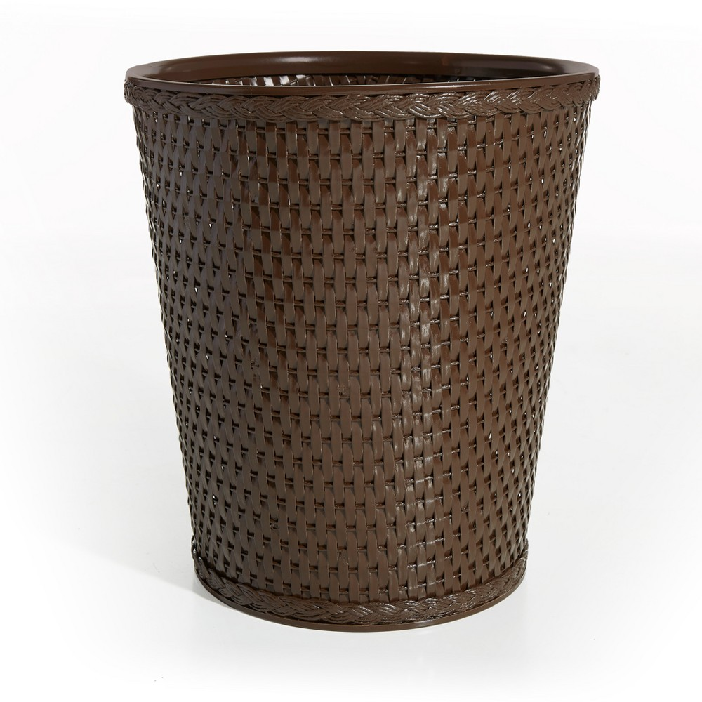 Image of Carter Round Bathroom Wastebasket Chocolate (Brown) LaMont Home