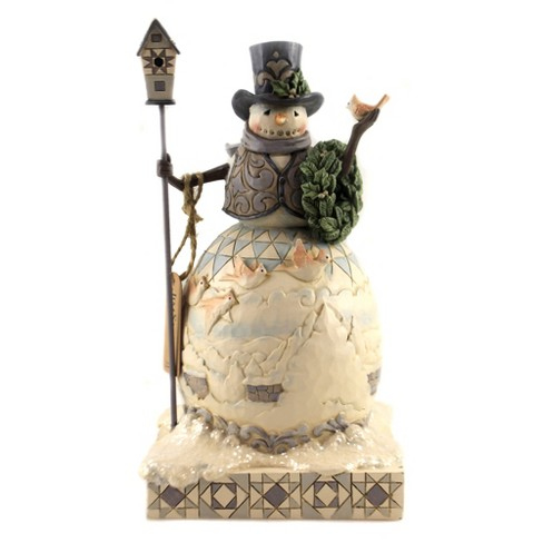 "Jim Shore 9.25"" White Woodland Snowman Cardinal Wreath Christmas  -  Decorative Figurines - image 1 of 3"