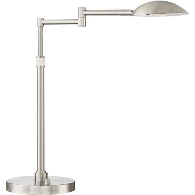 Possini Euro Design Modern Swing Arm Desk Table Lamp LED Dimmer Switch Satin Nickel Adjustable Height for Bedroom Bedside Office