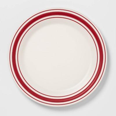 11  Melamine Striped Dinner Plate White - Threshold™