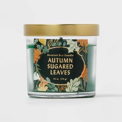 Lidded Glass Jar Autumn Sugared Leaves Candle - Opalhouse™