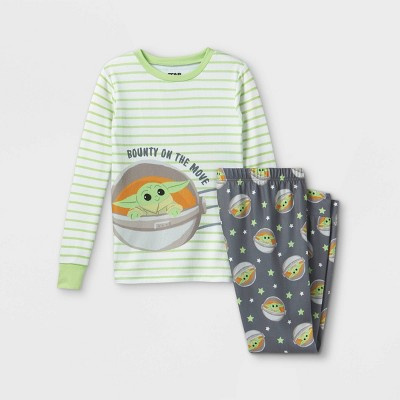 Boys' Star Wars Baby Yoda 2pc Hacci Pajama Set - Green - Disney Store