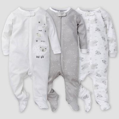 Gerber Baby 3pk Lamb Sleep N' Play - White/Gray 3-6M