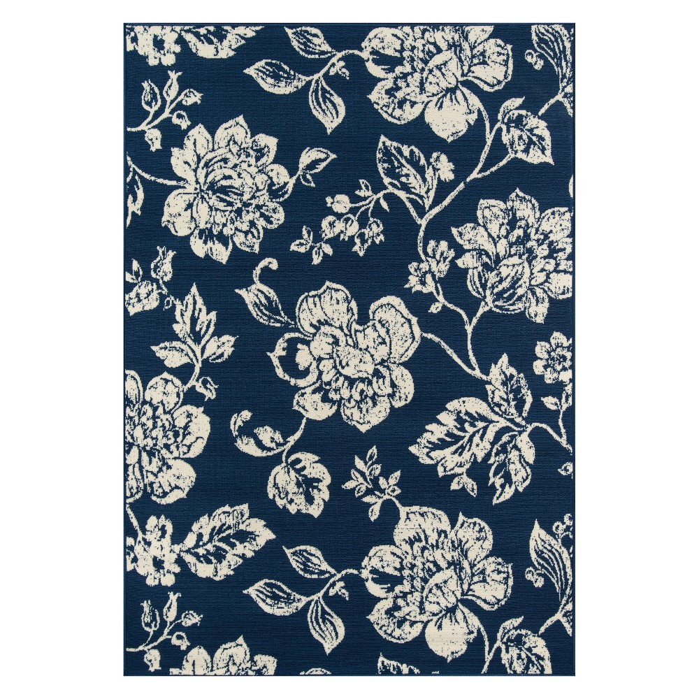 8'6X13' Floral Loomed Area Rug Navy (Blue) - Momeni