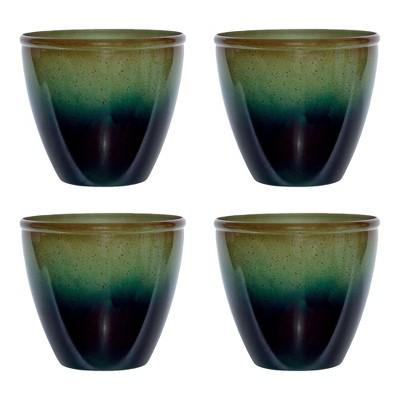"Suncast Seneca 16"" Ombre Resin Plant Flower Planter Pot, Green/Blue (4 Pack)"