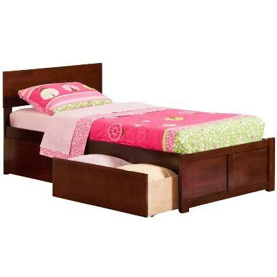 Atlantic Furniture Orlando Twin Flat Panel Foot Board w/ 2 Urban Bed Drawers Antique Walnut