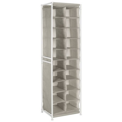 mDesign Fabric Shoe Rack Holder Storage Shelf, Metal Frame, 20 Cube