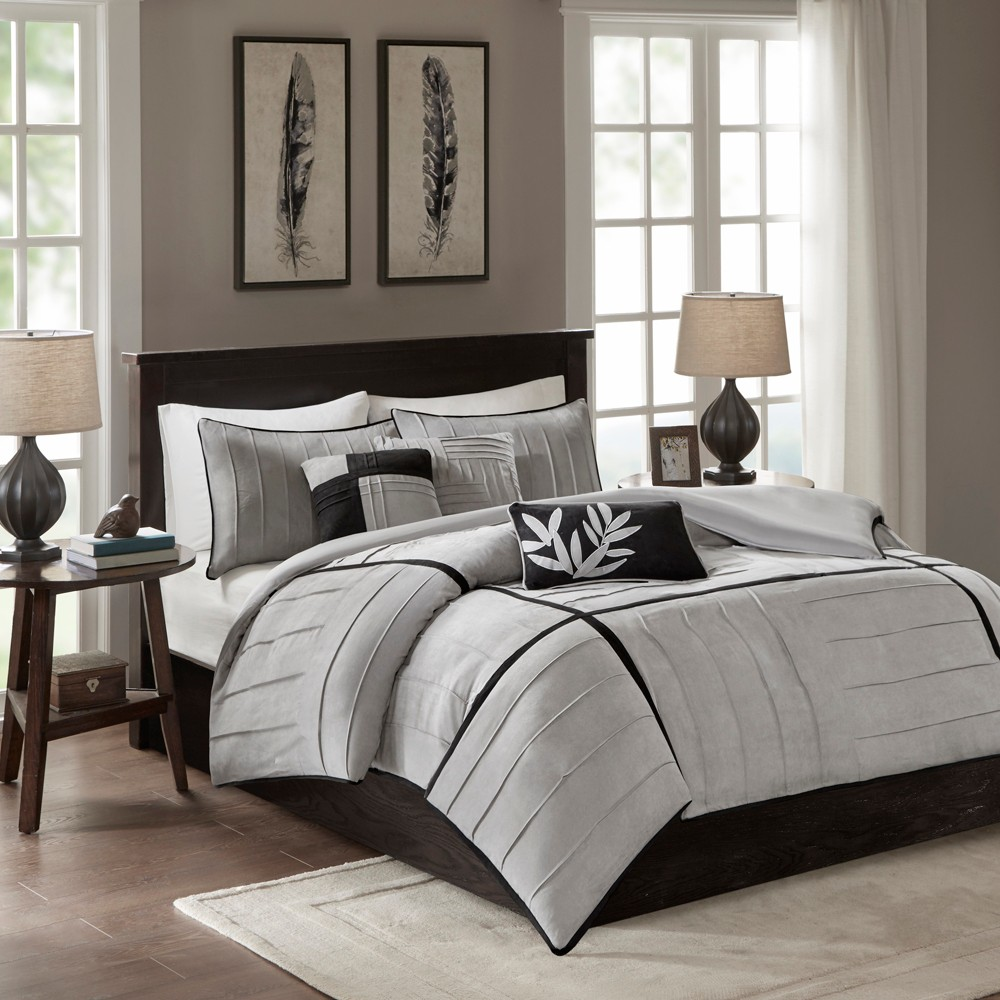 Gray Landcaster Microsuede Pleated Duvet Set King 6pc