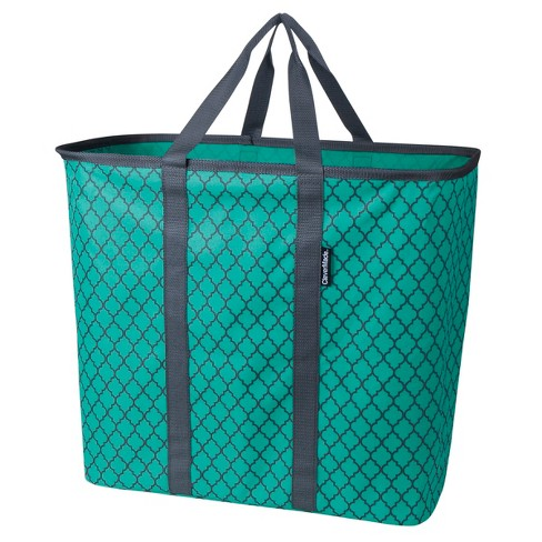 CleverMade SnapBasket CarryAll XL 64L Collapsible Laundry Basket/Tote - Teal/Charcoal Quatrefoil - image 1 of 2