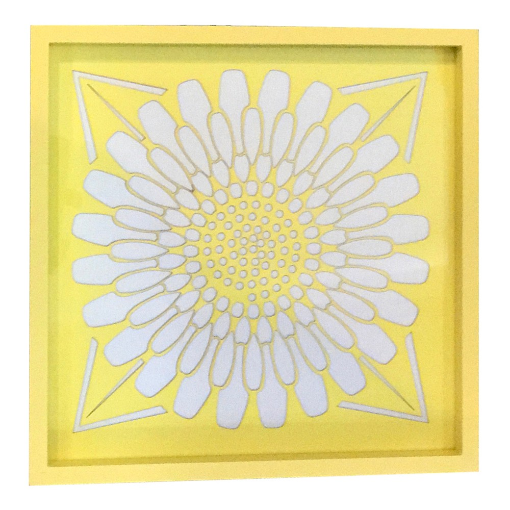 Wooden Serving Tray Yellow/White 12