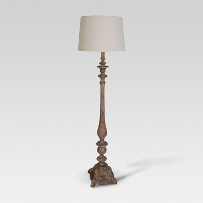 Turned Wood Double Socket Floor Lamp Natural Wood - (Lamp Only)Threshold™