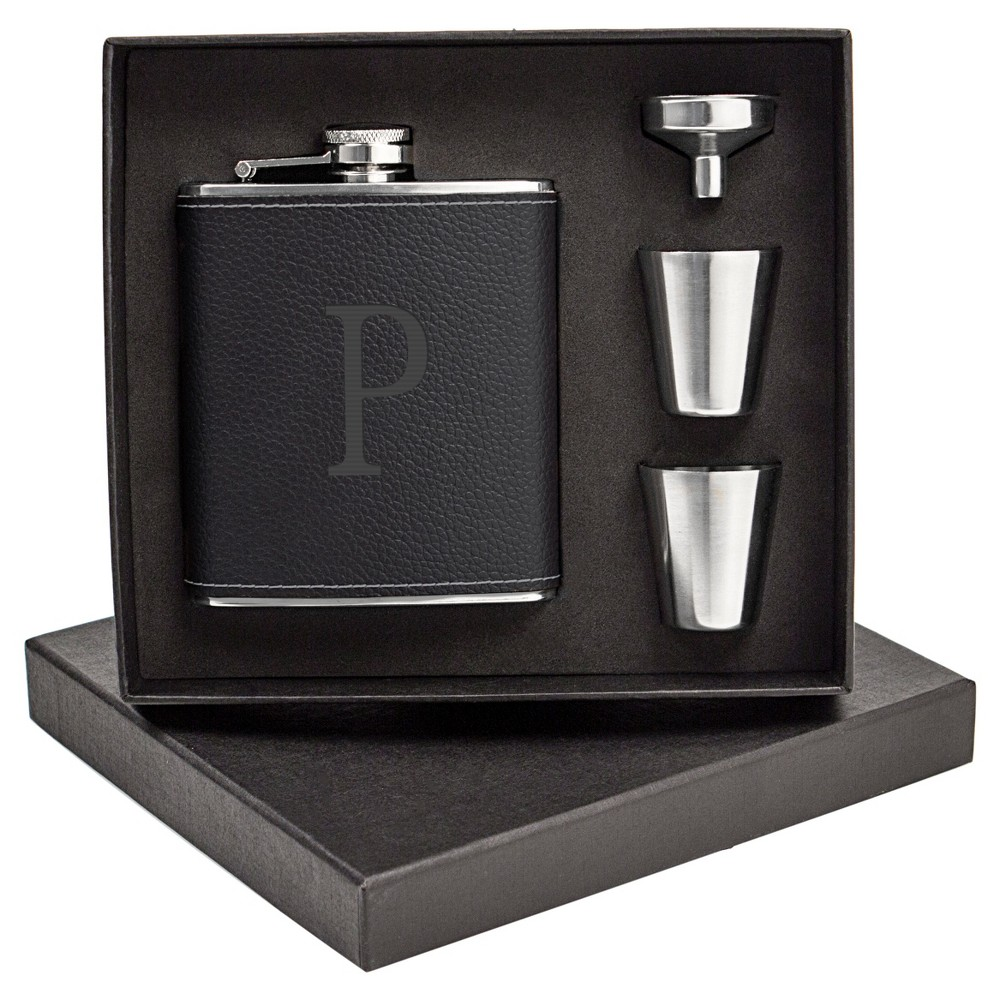Monogram Groomsmen Gift Leather Wrapped Flask - P, Black