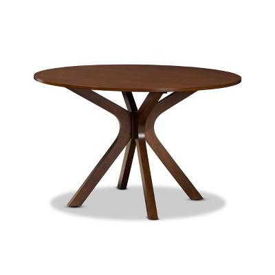 "48"" Kenji Wide Round Wood Dining Table Walnut - Baxton Studio"